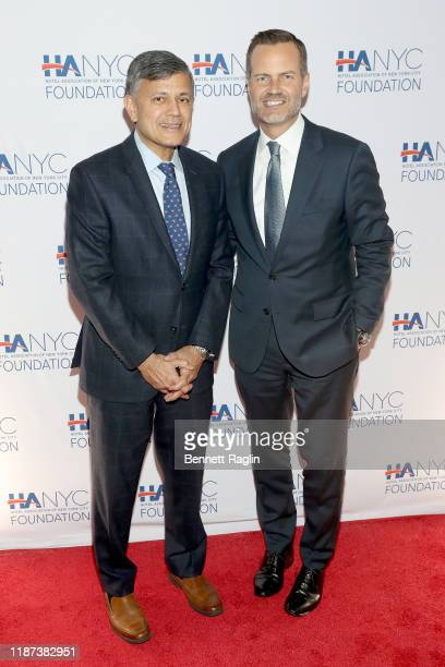 Vijay Dandapani and Fred Dixon attends The Red Carpet Hospitality Gala Hosted by the Hotel Association Of New York City Foundation at Grand Hyatt New...