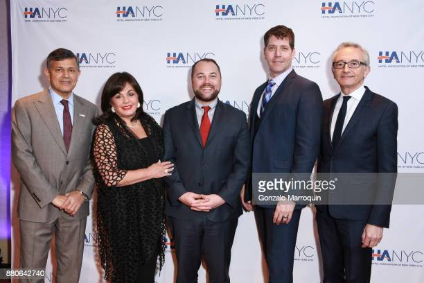 Vijay Dandapani Charlotte St Martin Corey Johnson James Barbour and Herve Houdre during the Hotel Association of New York City hosts 'The Red Carpet...