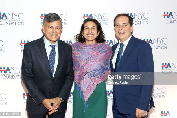 Vijay Dandapani Jennie Frishtick and Fred Grapstein attend The Red Carpet Hospitality Gala Hosted by the Hotel Association Of New York City...
