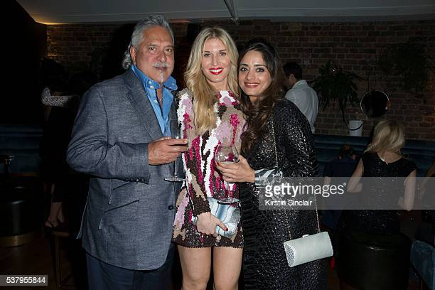 Vijay Mallya Hofit Golan and Pinky Lalwani at Hofit Golan's birthday celebration at Ours restaurant and bar on June 03 2016 in London England