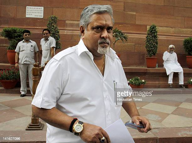 Vijay Mallya Rajya Sabha MP and Chief of Kingfisher Airlines leaves after attending a parliament budget session at Parliament House on March 20 2012...