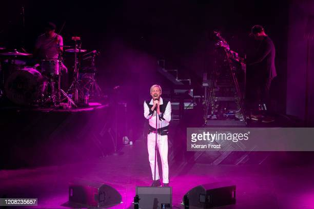 Vijay Mistry, Ricky Wilson and Nick Baines of Kaiser Chiefs perform at 3Arena Dublin on February 23, 2020 in Dublin, Dublin.