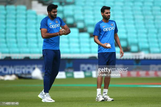 Vijay Shankar and Bhuvneshwar Kumar in action during the India Nets Session at The Oval on June 8, 2019 in London, England.