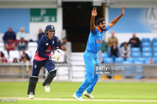 Vijay Shankar of India A appeals unsuccessfully against Will Jacks of ECB XI during a tour match between ECB XI v India A at Headingley on June 17...
