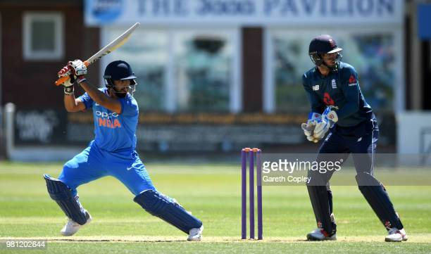 Vijay Shankar of India A bats during the TriSeries International match between England Lions and India A at The 3aaa County Ground on June 22 2018 in...