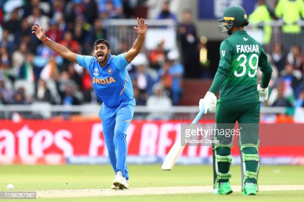 Vijay Shankar of India appeals successfully for the wicket of Imam ul Haq of Pakistan during the Group Stage match of the ICC Cricket World Cup 2019...