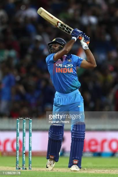 Vijay Shankar of India bats during the International T20 Game 3 between India and New Zealand at Seddon Park on February 10 2019 in Hamilton New...