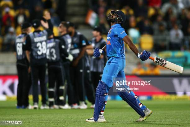 Vijay Shankar of India leaves the field after being dismissed during game one of the International T20 Series between the New Zealand Black Caps and...