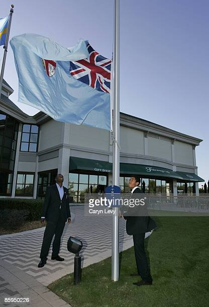 Vijay Singh and his son during the Fiji Flag raising Ceremony at the World Golf Hall of Fame located at the World Golf Village in St Augustine...