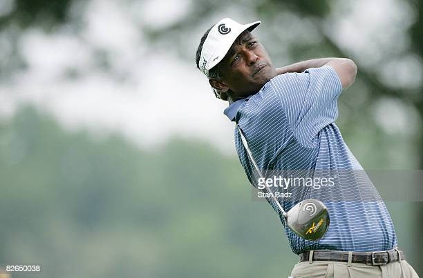 Vijay Singh hits from the 10th tee box during the ProAm round for the BMW Championship held at Bellerive Country Club on September 3 2008 in St Louis...