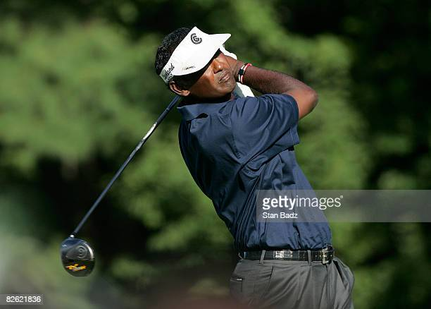 Vijay Singh hits from the 14th tee box during the final round of the Deutsche Bank Championship held at TPC Boston on September 1, 2008 in Norton,...
