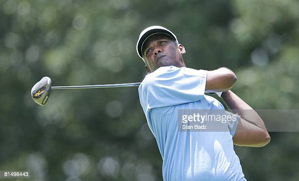 Vijay Singh hits from the seventh tee box during the final round of the Stanford St. Jude Championship at TPC Southwind held on June 8, 2008 in...