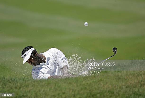 Vijay Singh hits froma bunker on during the first round of the Barclays Classic at the Westchester CC in Rye NY Thursday June 23 2005