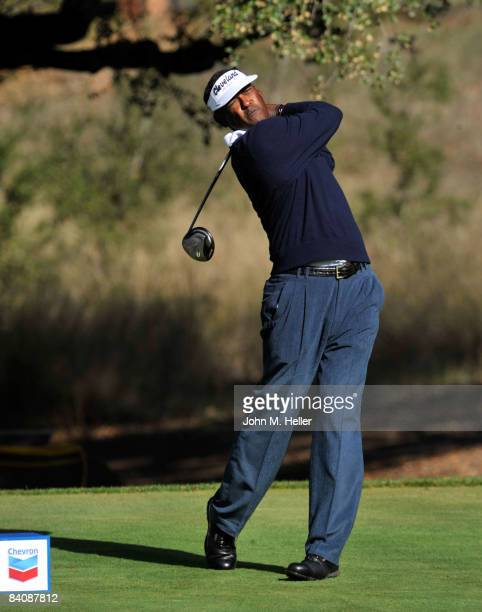 Vijay Singh in action during the first round of play at The 2008 Chevron World Challenge Presented by Bank of America on December 18, 2008 at...
