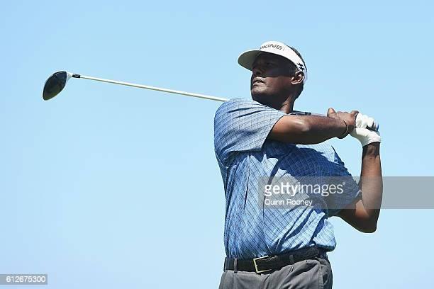 Vijay Singh of Fiji competes in the ProAm ahead of the 2016 Fiji International at Natadola Bay Golf Course on October 5 2016 in Natadola Fiji