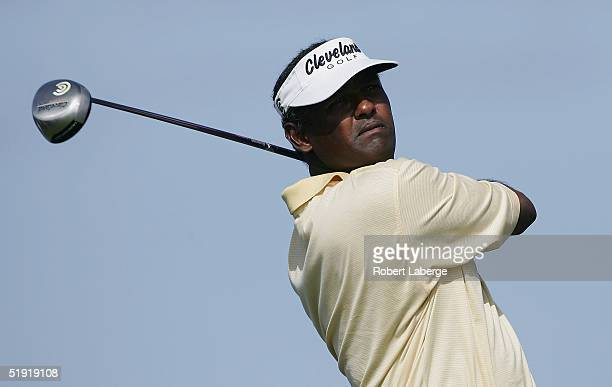 Vijay Singh of Fiji drives a ball on the 16th tee during the Pro-Am at the Mercedes Championships on January 5, 2005 at the Plantation Course in...
