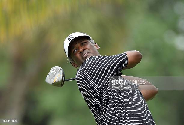 Vijay Singh of Fiji drives at the 11th hole during the first round of the 2008 World Golf Championships CA Championship at the Doral Golf Resort &...