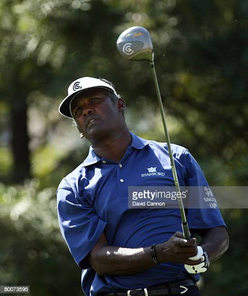 Vijay Singh of Fiji drives at the 12th hole during the second round of the 2008 Johnnie Walker Classic held at The DLF Golf and Country Club on March...