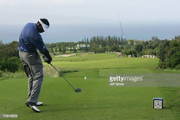 Vijay Singh of Fiji hits a tee shot on the 17th hole during the final round of the Mercedes Championship on January 7, 2007 at the Plantation Course...
