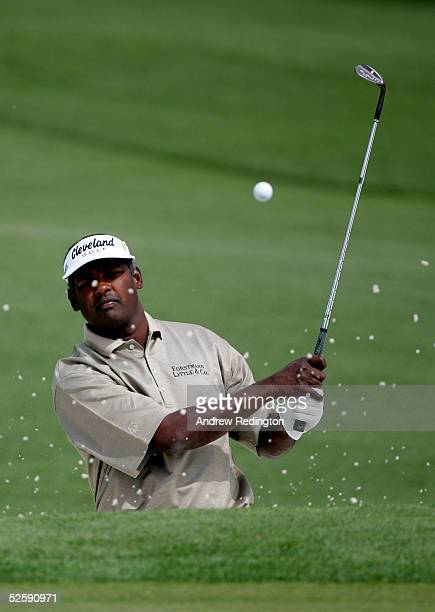 Vijay Singh of Fiji hits from the bunker on the second hole during practice for The Masters at the Augusta National Golf Club on April 5 2005 in...