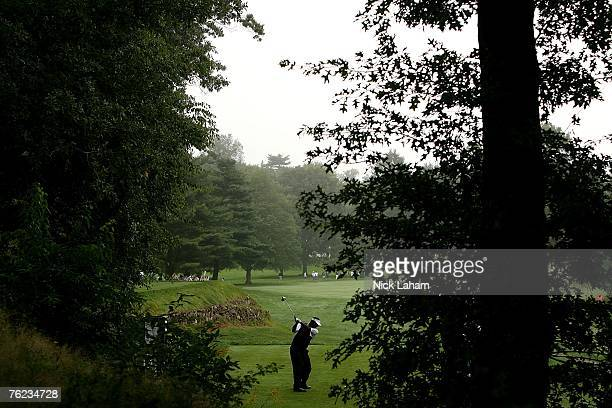 Vijay Singh of Fiji hits his tee shot on the 15th during the first round of The Barclays the inaugural event of the new FedEx Cup Playoffs at...