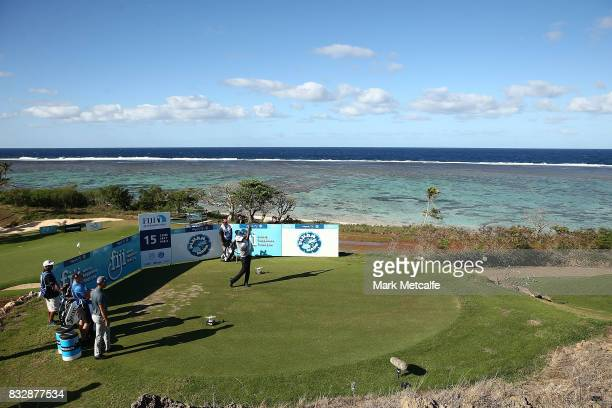 Vijay Singh of Fiji hits his tee shot on the 15th hole during day one of the 2017 Fiji International at Natadola Bay Championship Golf Course on...
