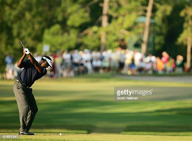 Vijay Singh of Fiji hits his tee shot on the 17th hole on the Copperhead Course at the Innisbrook Resort during the final round of the Chrysler...