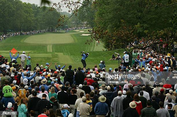 Vijay Singh of Fiji hits his tee shot on the fourth hole during the third round of the Wachovia Championship on May 5, 2007 at Quail Hollow Country...