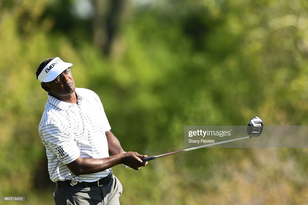 Vijay Singh of Fiji hits his tee shot on the seventh hole during the first round of the Senior PGA Championship presented by KitchenAid at the Golf Club at Harbor Shores on May 24, 2018 in Benton Harbor, Michigan.
