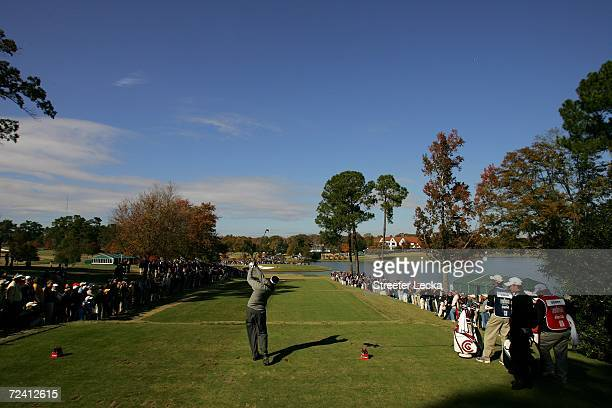 Vijay Singh of Fiji hits his tee shot on the sixth hole during the final round of the PGA Tour Championship at East Lake Golf Club on November 5,...