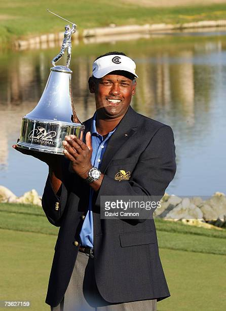 Vijay Singh of Fiji holds the trophy after the final round of the Arnold Palmer Invitational presented by MasterCard on the Championship Course at...