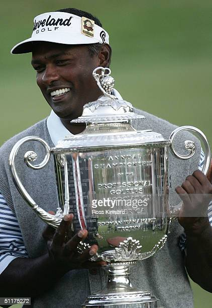 Vijay Singh of Fiji holds the Wanamaker Trophy after he won the final round of the US PGA Championship at the Whistling Straits Golf Course on August...