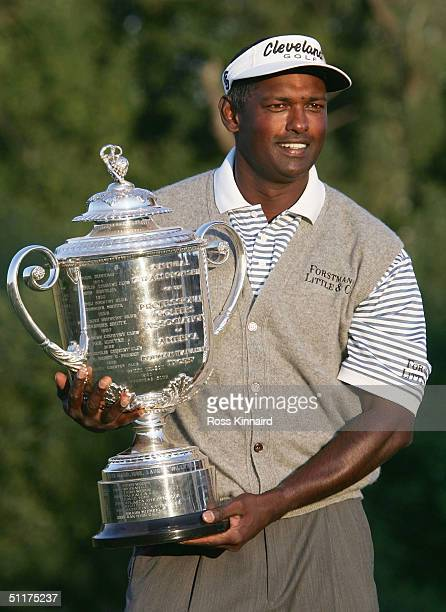 Vijay Singh of Fiji holds the Wanamaker Trophy after he won the US PGA Championship at the Whistling Straits Golf Course on August 15 2004 in Kohler...