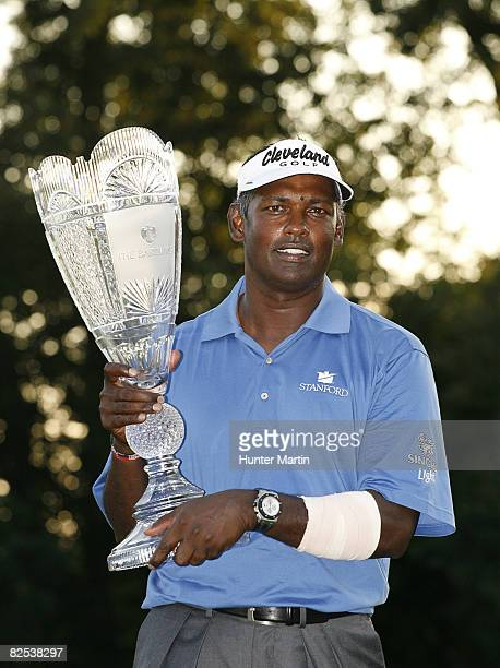Vijay Singh of Fiji Islands holds the championship trophy after winning The Barclays at Ridgewood Country Club on August 24 2008 in Paramus New Jersey