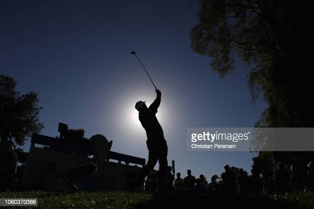 Vijay Singh of Fiji Islands plays a tee shot on the 17th hole during the final round of the Charles Schwab Cup Championship at Phoenix Country Club...