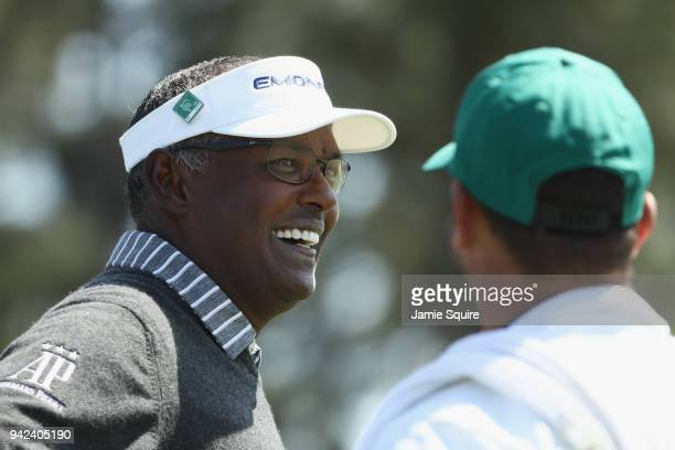 Vijay Singh of Fiji laughs on the 18th hole during the first round of the 2018 Masters Tournament at Augusta National Golf Club on April 5 2018 in...