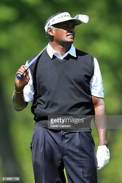 Vijay Singh of Fiji on the fifth hole during the second round of the 2016 Masters Tournament at Augusta National Golf Club on April 8 2016 in Augusta...