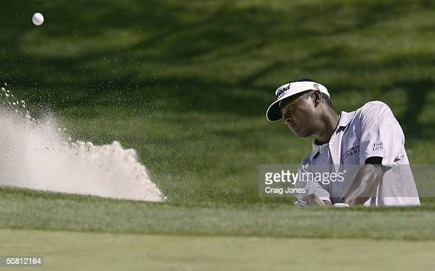 Vijay Singh of Fiji plays a bunker shot on the second hole during the second round of the Wachovia Championship at the Quail Hollow Club on May 7,...