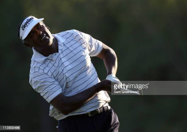 Vijay Singh of Fiji plays a shot during the first round of the Transitions Championship at Innisbrook Resort and Golf Club on March 17 2011 in Palm...