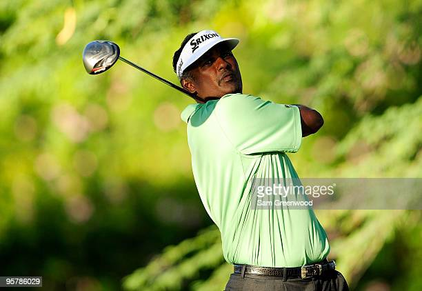 Vijay Singh of Fiji plays a shot during the first round of the Sony Open at Waialae Country Club on January 14 2010 in Honolulu Hawaii