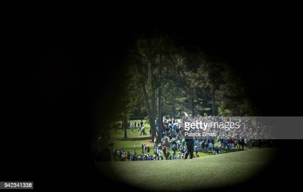 Vijay Singh of Fiji plays a shot on the eighth hole during the first round of the 2018 Masters Tournament at Augusta National Golf Club on April 5...