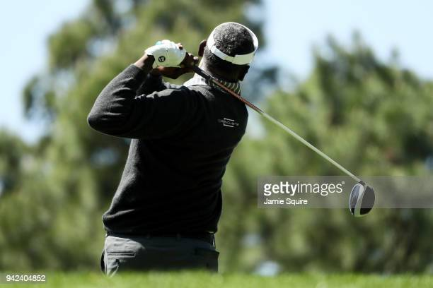 Vijay Singh of Fiji plays a tee shot during the first round of the 2018 Masters Tournament at Augusta National Golf Club on April 5 2018 in Augusta...