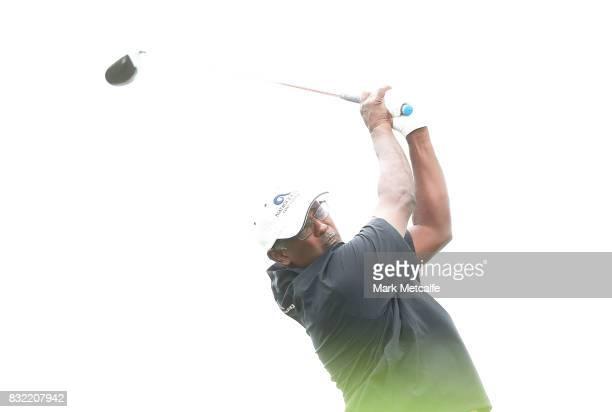 Vijay Singh of Fiji plays a tee shot during the proam ahead of the 2017 Fiji International at Natadola Bay Championship Golf Course on August 16 2017...