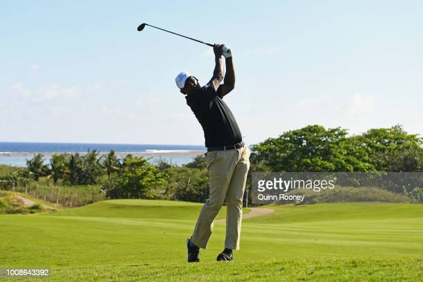 Vijay Singh of Fiji plays an approach shot during the Pro Am at the Fiji International Golf Tournament on August 1 2018 in Natadola Fiji