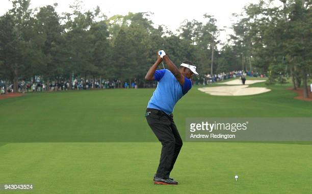 Vijay Singh of Fiji plays his shot from the first tee during the third round of the 2018 Masters Tournament at Augusta National Golf Club on April 7...