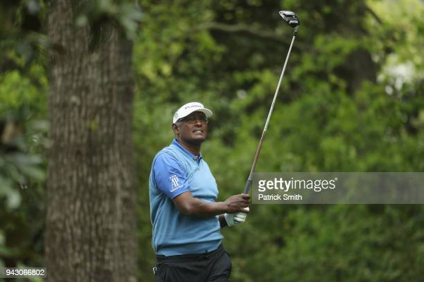 Vijay Singh of Fiji plays his shot from the second tee during the third round of the 2018 Masters Tournament at Augusta National Golf Club on April 7...