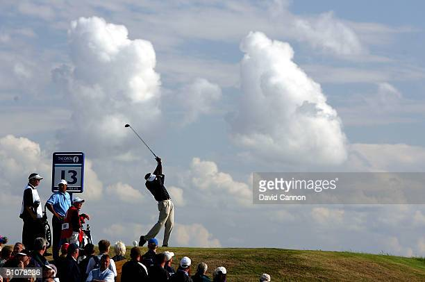Vijay Singh of Fiji plays his tee shot on the 13th hole during the third round of the 133rd Open Championship at the Royal Troon Golf Club July 17...