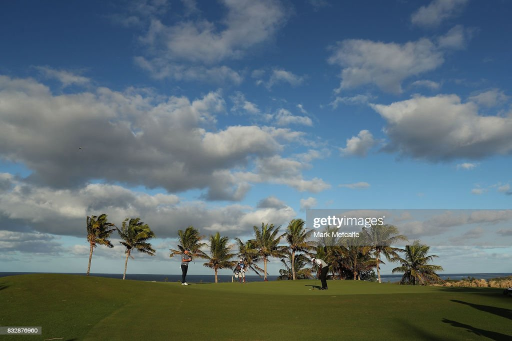 Vijay Singh of Fiji putts on the 10th hole during day one of the 2017 Fiji International at Natadola Bay Championship Golf Course on August 17, 2017 in Suva, Fiji.