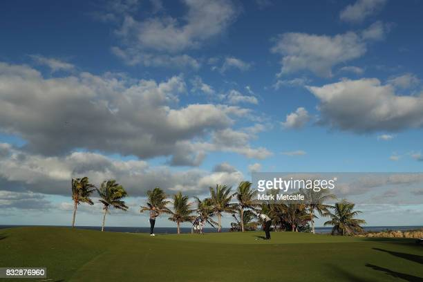 Vijay Singh of Fiji putts on the 10th hole during day one of the 2017 Fiji International at Natadola Bay Championship Golf Course on August 17 2017...
