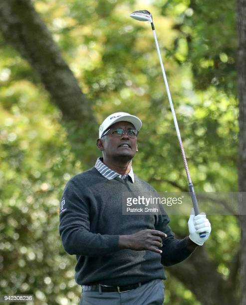 Vijay Singh of Fiji reacts to his shot on the second tee during the first round of the 2018 Masters Tournament at Augusta National Golf Club on April...